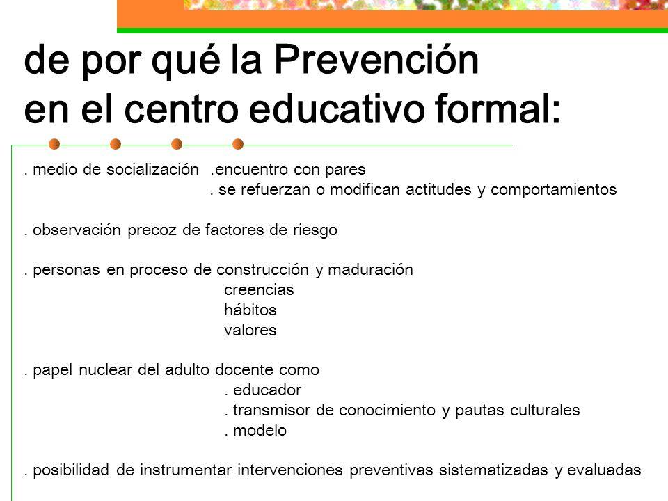 de por qué la Prevención en el centro educativo formal: