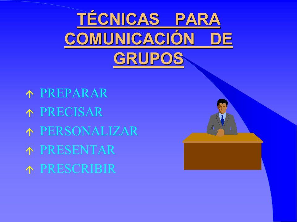 TÉCNICAS PARA COMUNICACIÓN DE GRUPOS