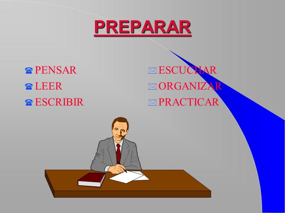 PREPARAR PENSAR LEER ESCRIBIR ESCUCHAR ORGANIZAR PRACTICAR
