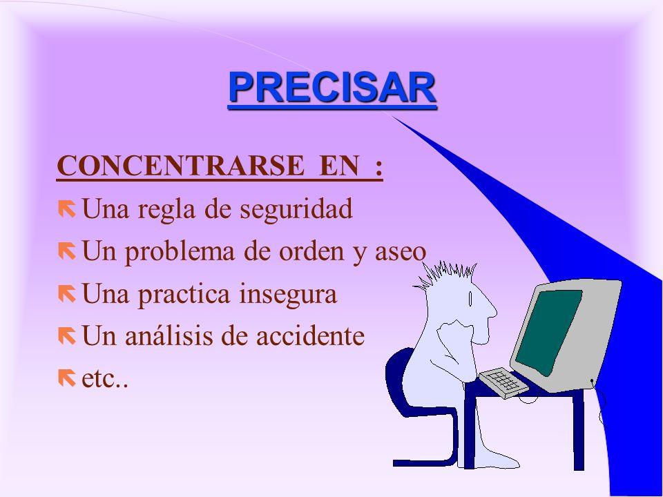 PRECISAR CONCENTRARSE EN : Una regla de seguridad