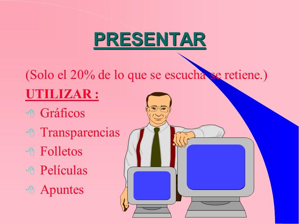 PRESENTAR (Solo el 20% de lo que se escucha se retiene.) UTILIZAR :