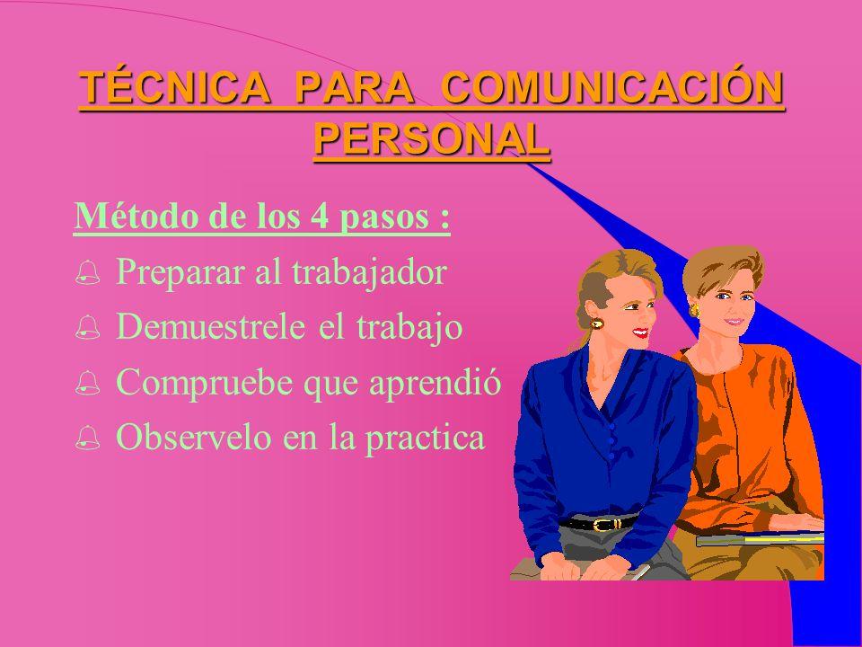 TÉCNICA PARA COMUNICACIÓN PERSONAL