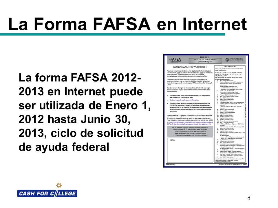 La Forma FAFSA en Internet