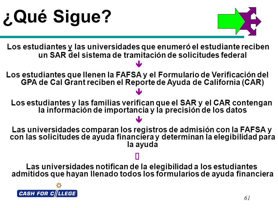 ¿Qué Sigue Los estudiantes y las universidades que enumeró el estudiante reciben un SAR del sistema de tramitación de solicitudes federal.