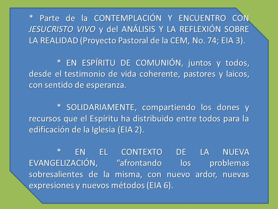 * Parte de la CONTEMPLACIÓN Y ENCUENTRO CON JESUCRISTO VIVO y del ANÁLISIS Y LA REFLEXIÓN SOBRE LA REALIDAD (Proyecto Pastoral de la CEM, No. 74; EIA 3).