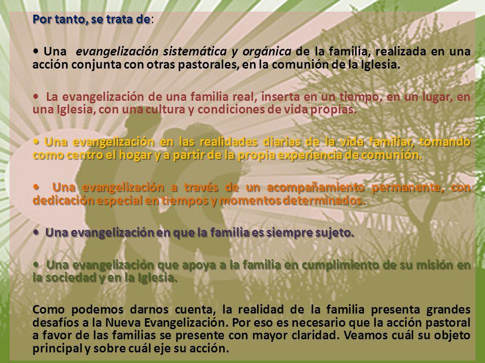 Por tanto, se trata de: • Una evangelización sistemática y orgánica de la familia, realizada en una acción conjunta con otras pastorales, en la comunión de la Iglesia.