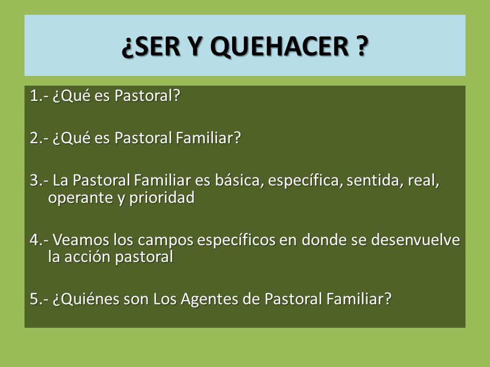 ¿SER Y QUEHACER 1.- ¿Qué es Pastoral 2.- ¿Qué es Pastoral Familiar