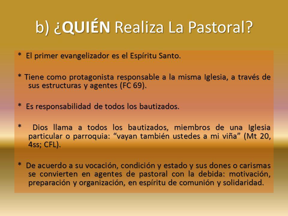 b) ¿QUIÉN Realiza La Pastoral