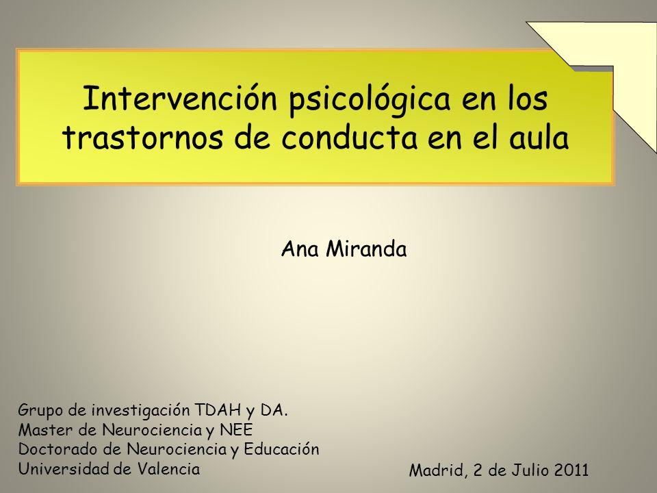 Intervención psicológica en los trastornos de conducta en el aula
