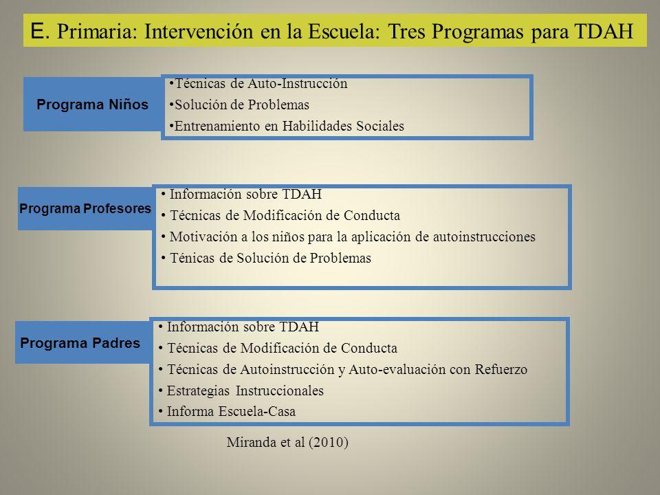 E. Primaria: Intervención en la Escuela: Tres Programas para TDAH