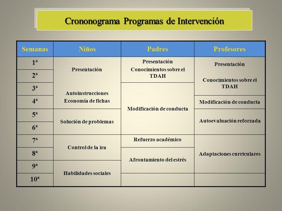 Crononograma Programas de Intervención