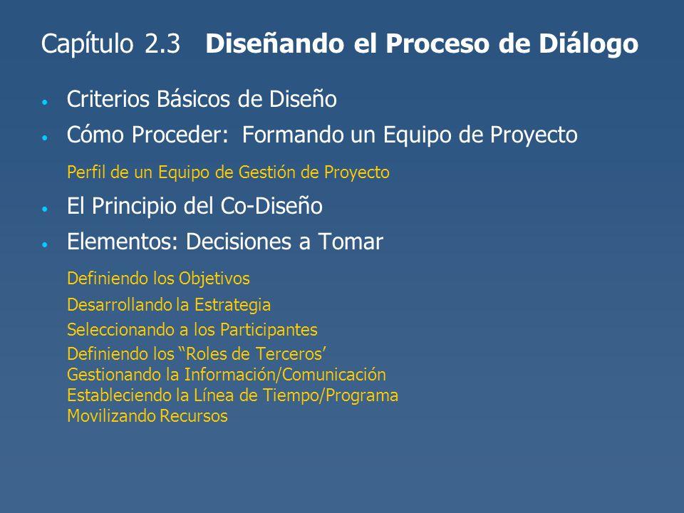 Capítulo 2.3 Diseñando el Proceso de Diálogo