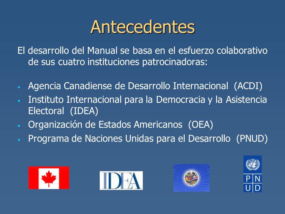 AntecedentesEl desarrollo del Manual se basa en el esfuerzo colaborativo de sus cuatro instituciones patrocinadoras:
