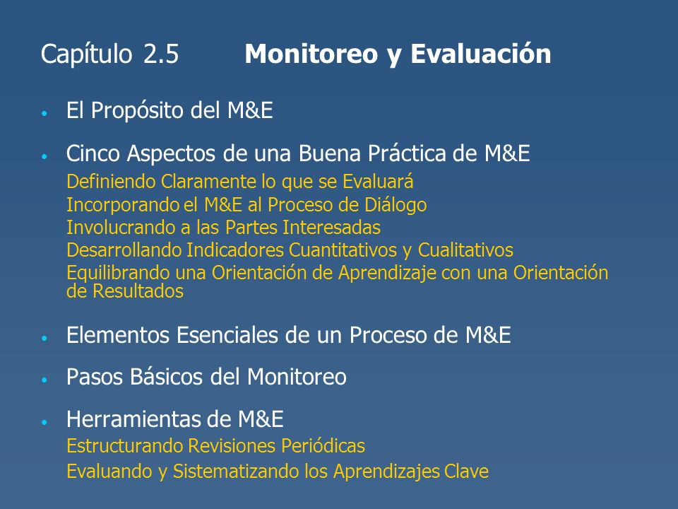 Capítulo 2.5 Monitoreo y Evaluación