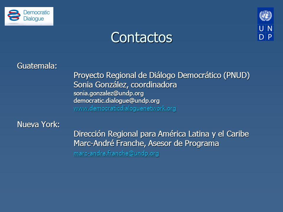 Contactos Guatemala: Proyecto Regional de Diálogo Democrático (PNUD)