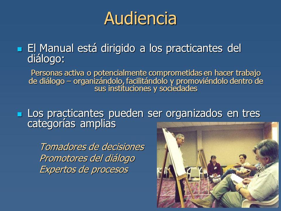 Audiencia El Manual está dirigido a los practicantes del diálogo: