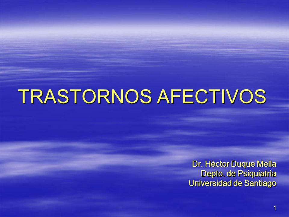 TRASTORNOS AFECTIVOS Dr. Hèctor Duque Mella Depto. de Psiquiatrìa