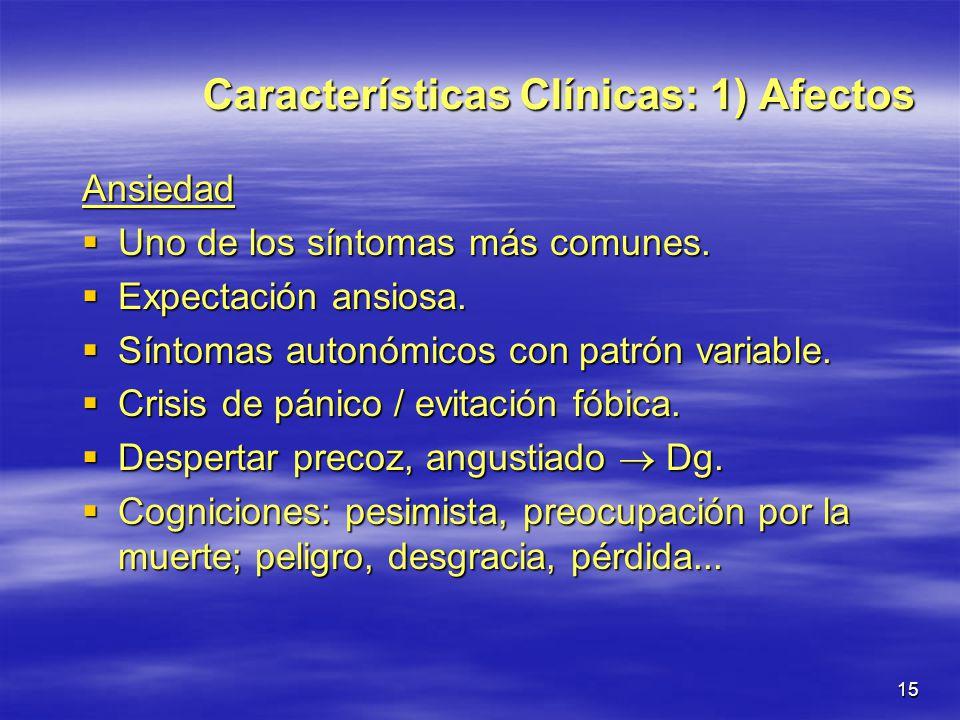 Características Clínicas: 1) Afectos