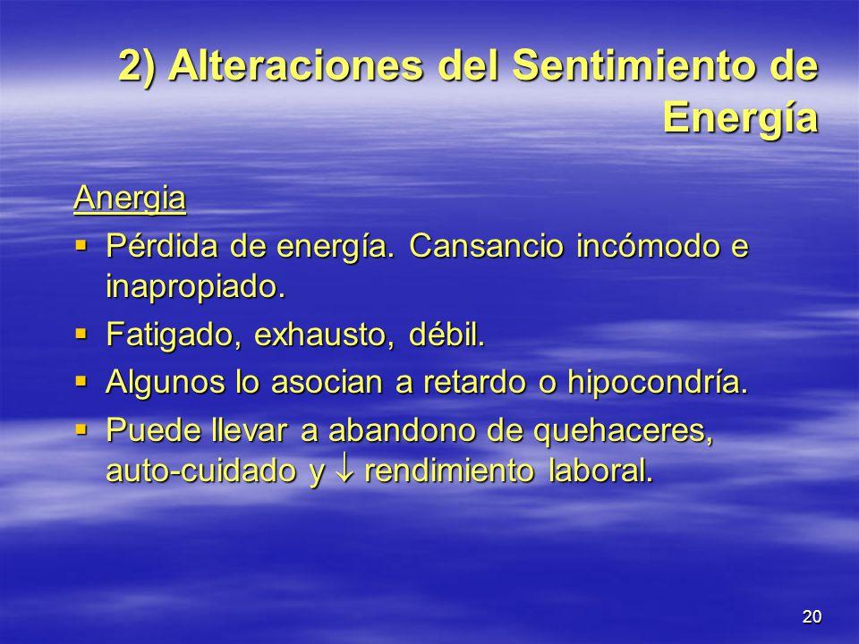 2) Alteraciones del Sentimiento de Energía