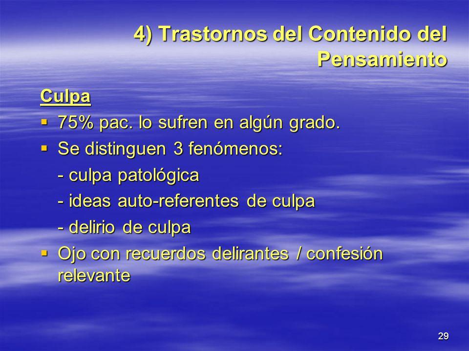 4) Trastornos del Contenido del Pensamiento