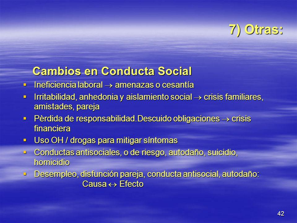7) Otras: Cambios en Conducta Social