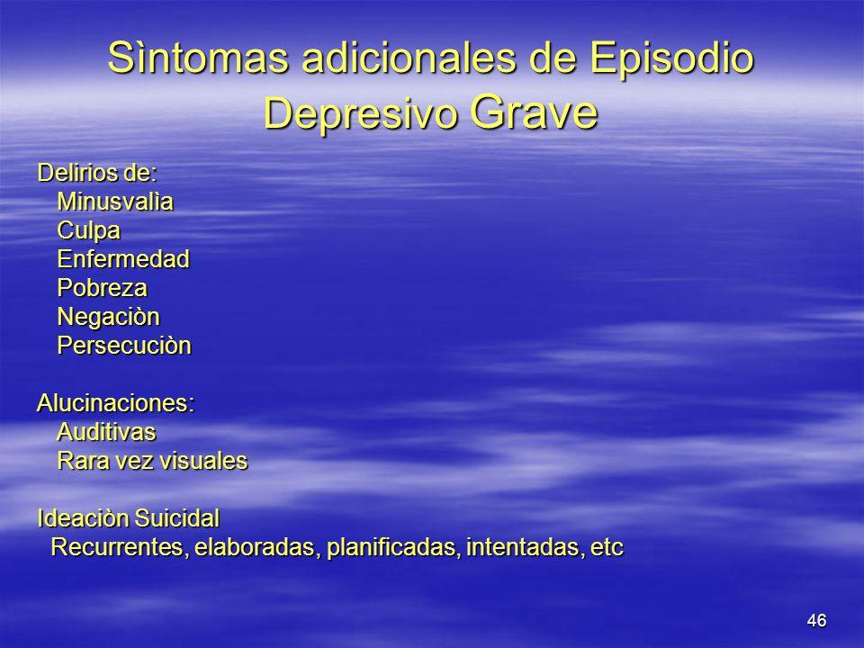 Sìntomas adicionales de Episodio Depresivo Grave