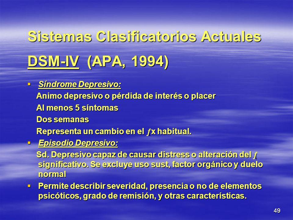 Sistemas Clasificatorios Actuales DSM-IV (APA, 1994)