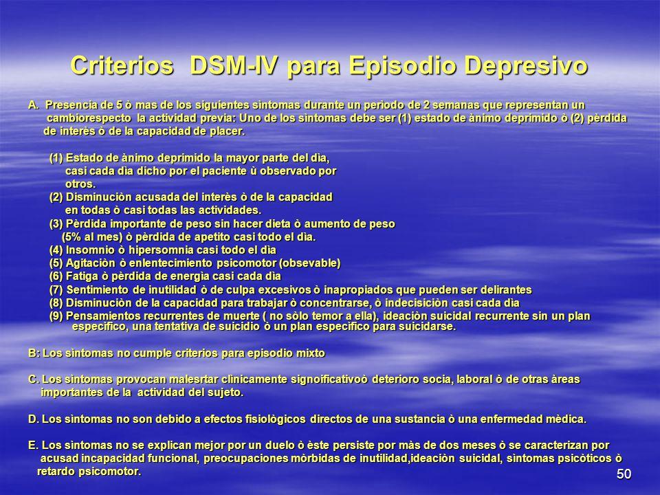 Criterios DSM-IV para Episodio Depresivo