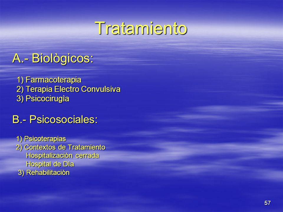 Tratamiento A.- Biològicos: B.- Psicosociales: 1) Farmacoterapia