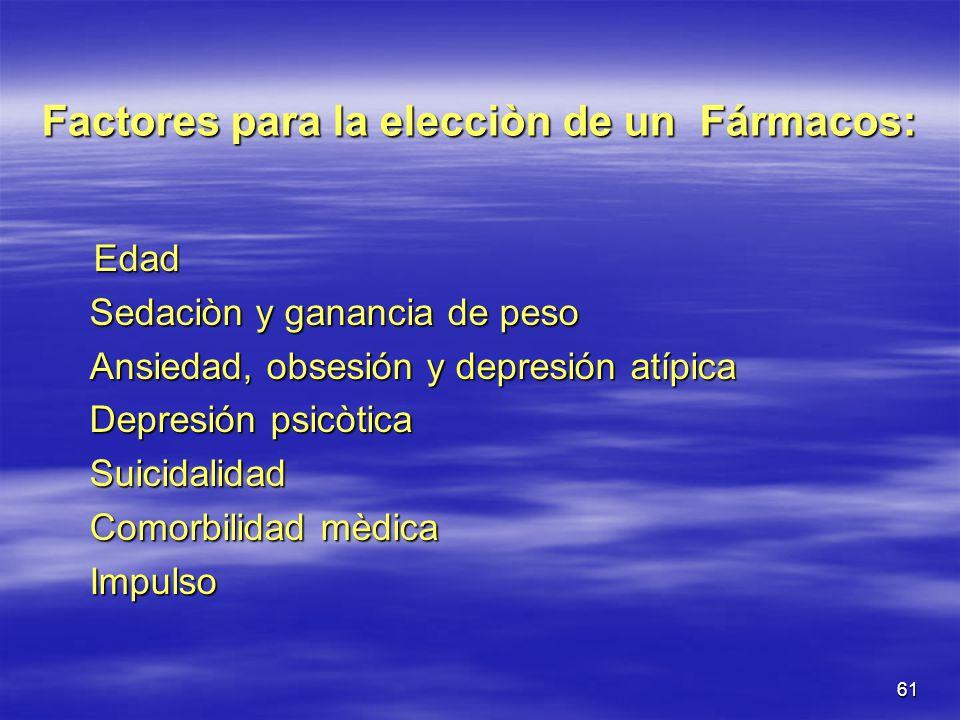 Factores para la elecciòn de un Fármacos: