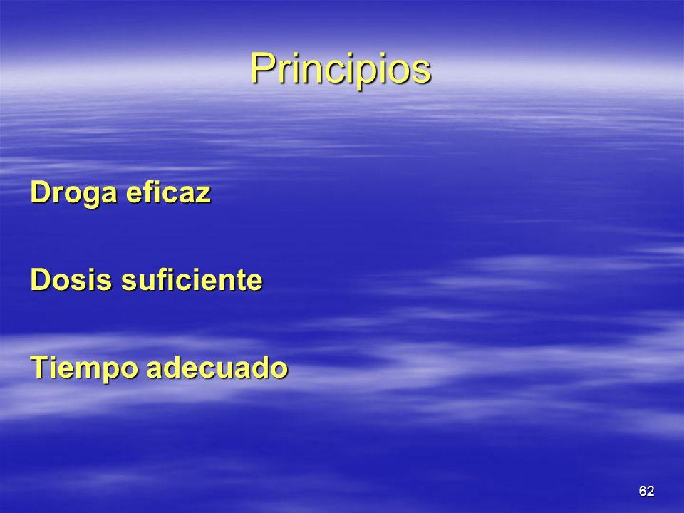 Principios Droga eficaz Dosis suficiente Tiempo adecuado