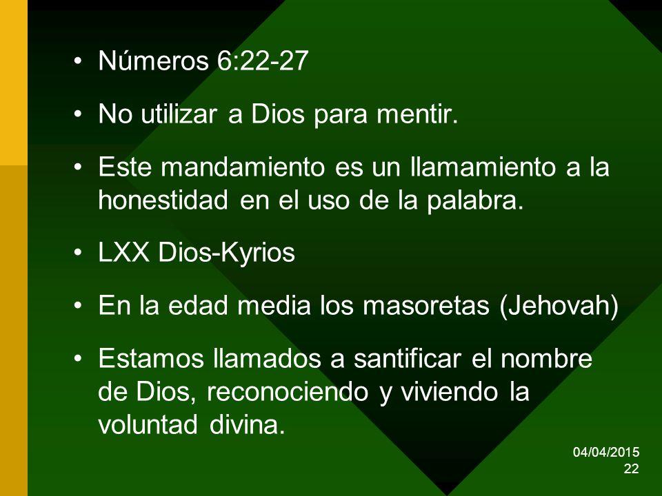 No utilizar a Dios para mentir.