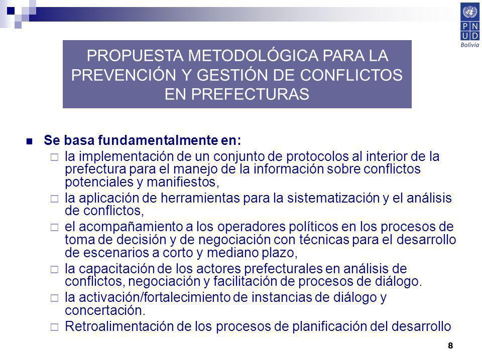 PROPUESTA METODOLÓGICA PARA LA PREVENCIÓN Y GESTIÓN DE CONFLICTOS EN PREFECTURAS