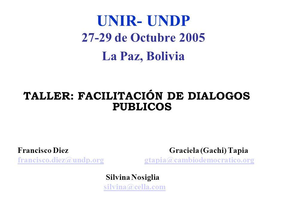 UNIR- UNDP 27-29 de Octubre 2005 La Paz, Bolivia