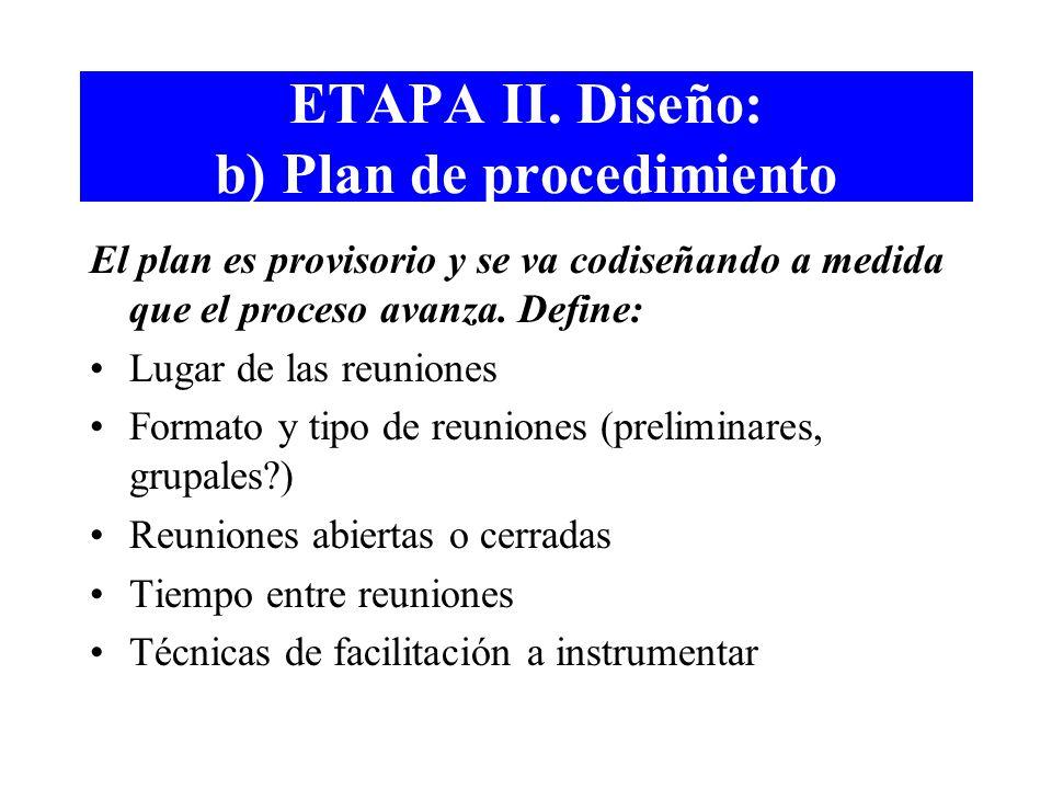 ETAPA II. Diseño: b) Plan de procedimiento
