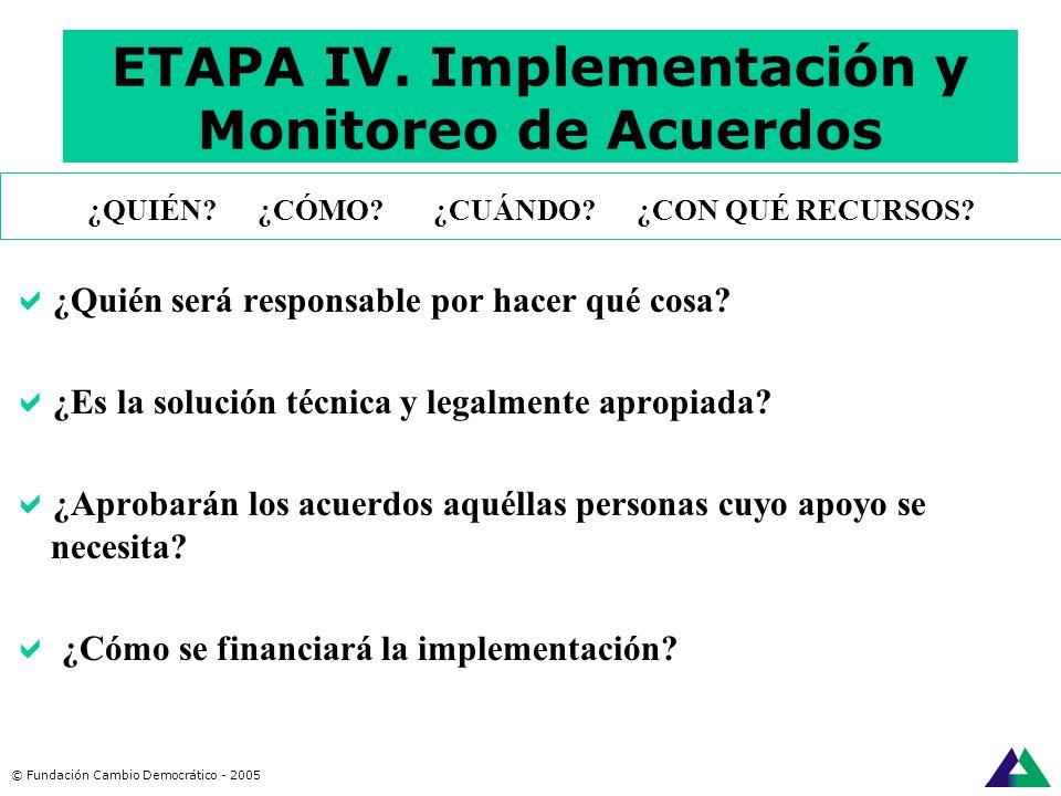 ETAPA IV. Implementación y Monitoreo de Acuerdos