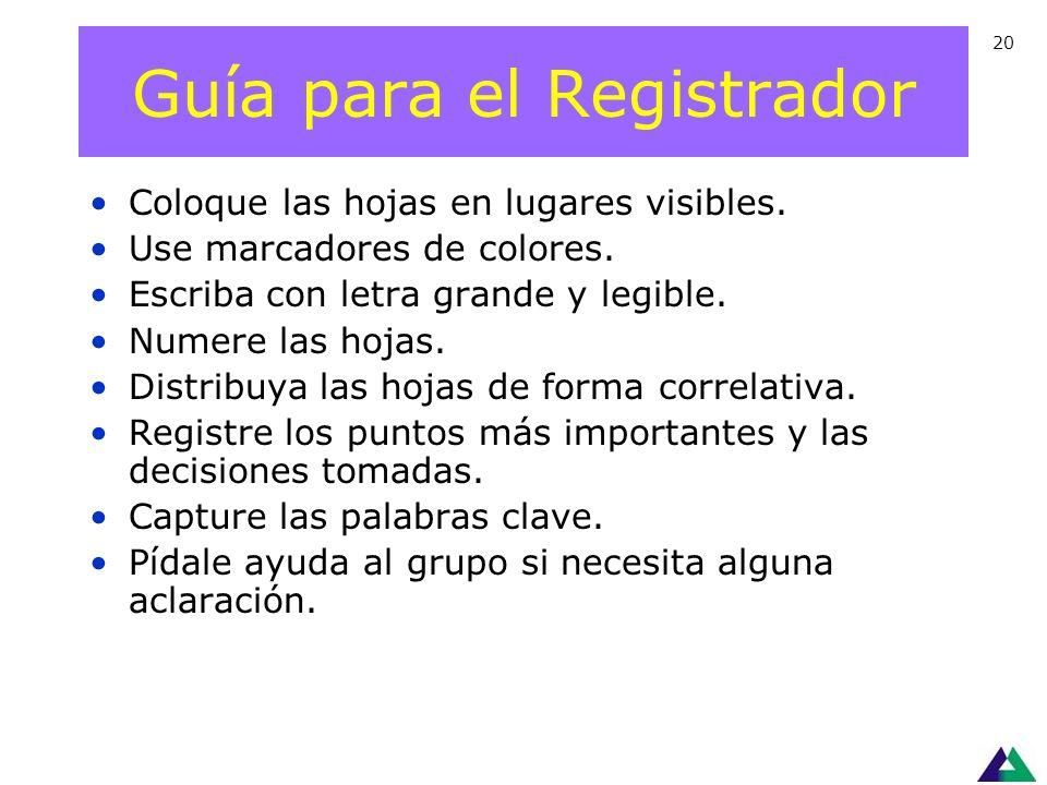 Guía para el Registrador