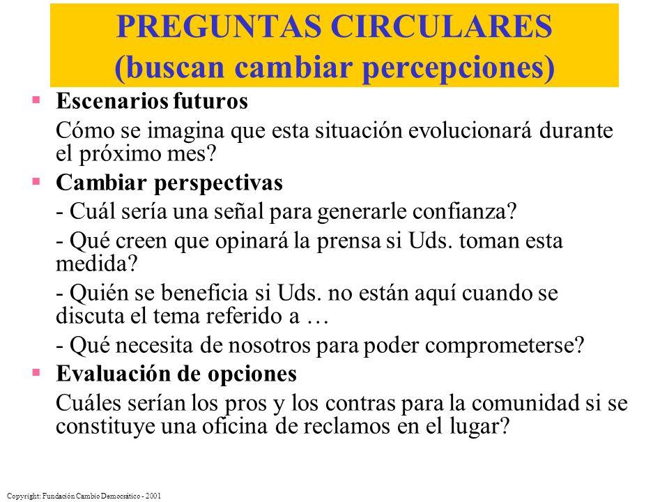 PREGUNTAS CIRCULARES (buscan cambiar percepciones)