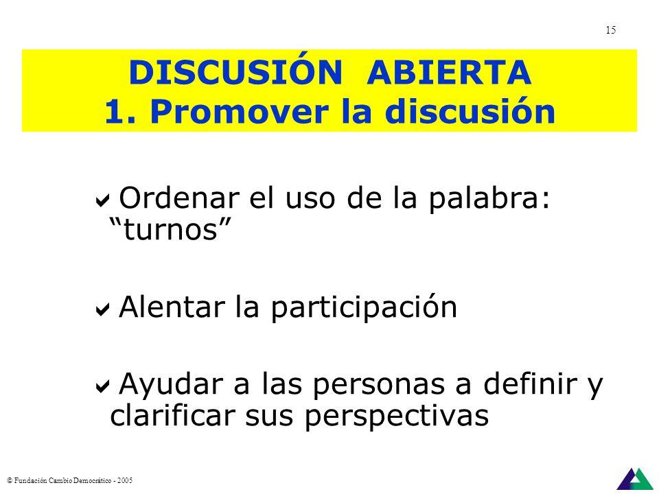 DISCUSIÓN ABIERTA 1. Promover la discusión