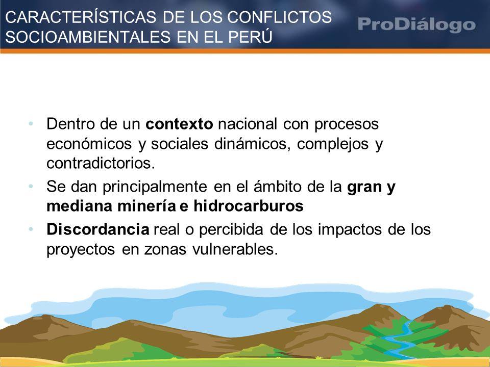 CARACTERÍSTICAS DE LOS CONFLICTOS SOCIOAMBIENTALES EN EL PERÚ