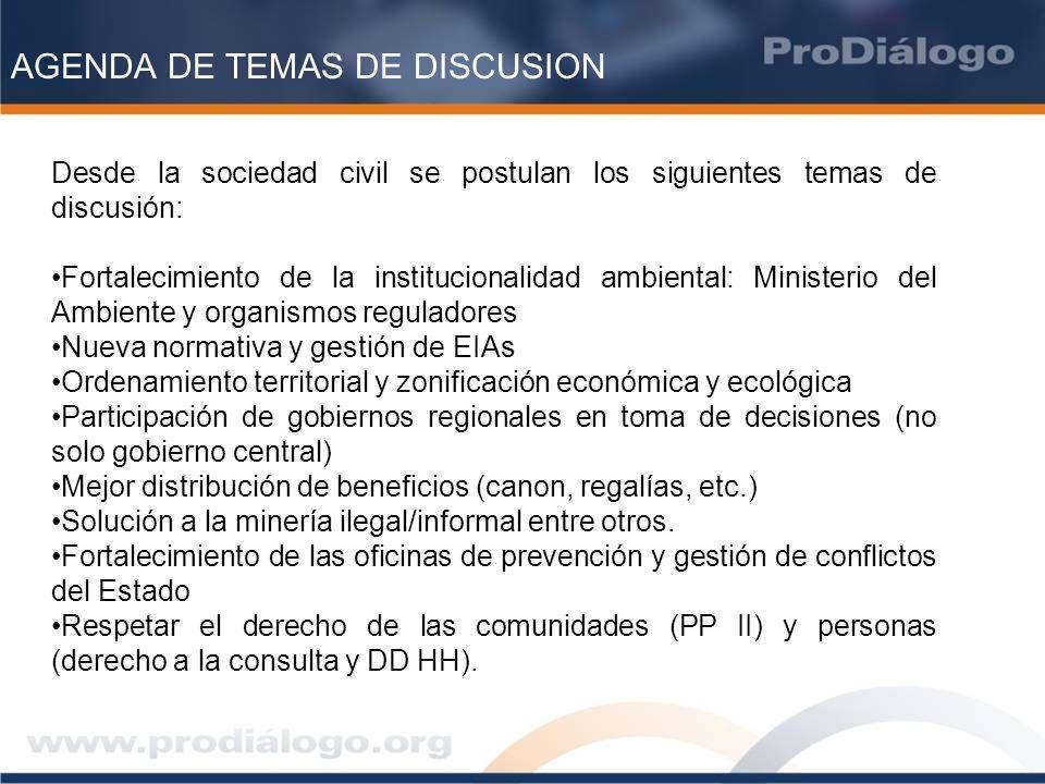 AGENDA DE TEMAS DE DISCUSION
