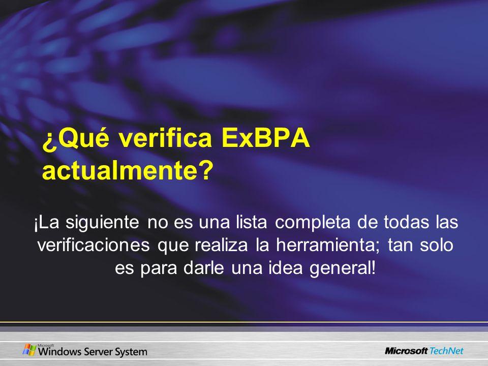 ¿Qué verifica ExBPA actualmente