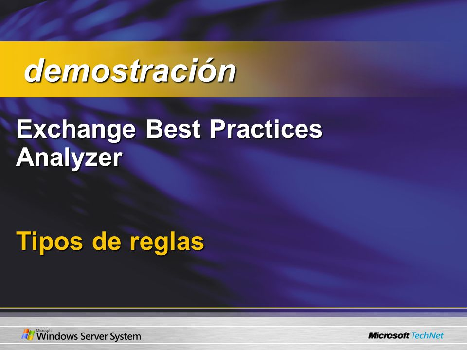 demostración Exchange Best Practices Analyzer Tipos de reglas