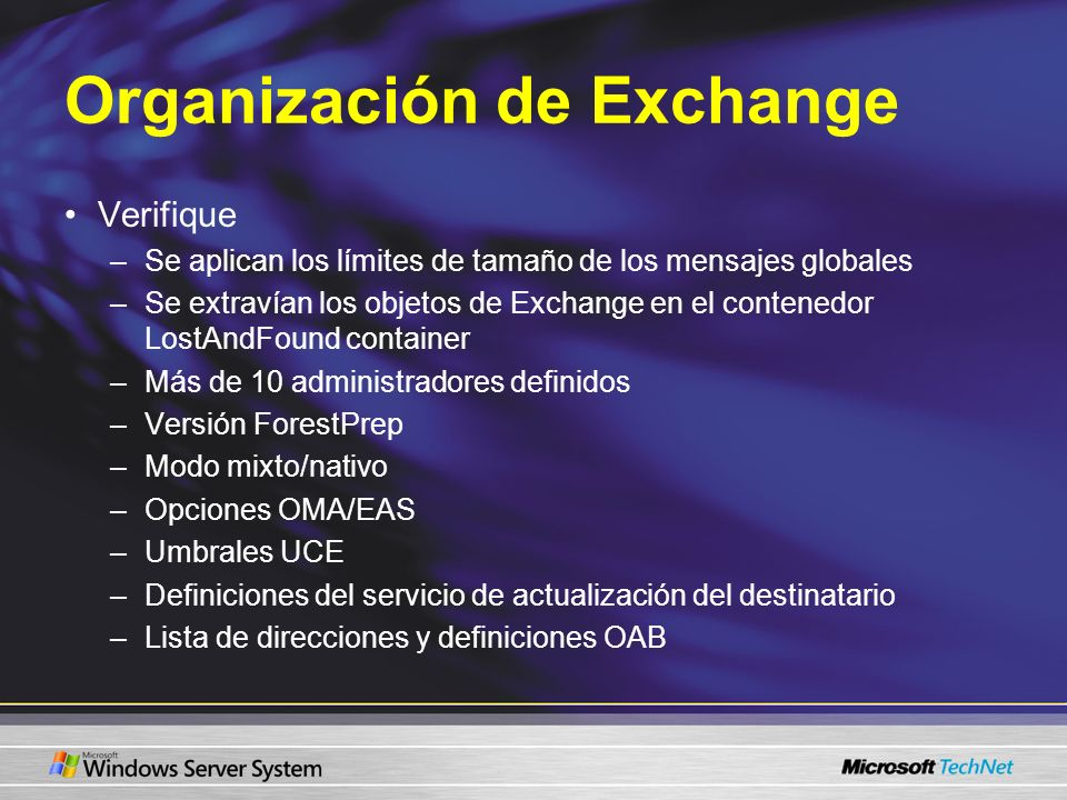 Organización de Exchange