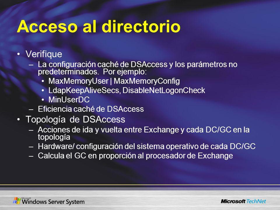 Acceso al directorio Verifique Topología de DSAccess