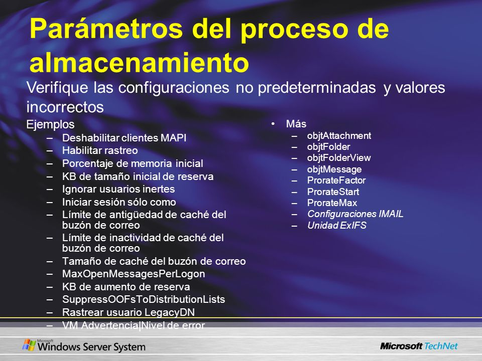 Parámetros del proceso de almacenamiento