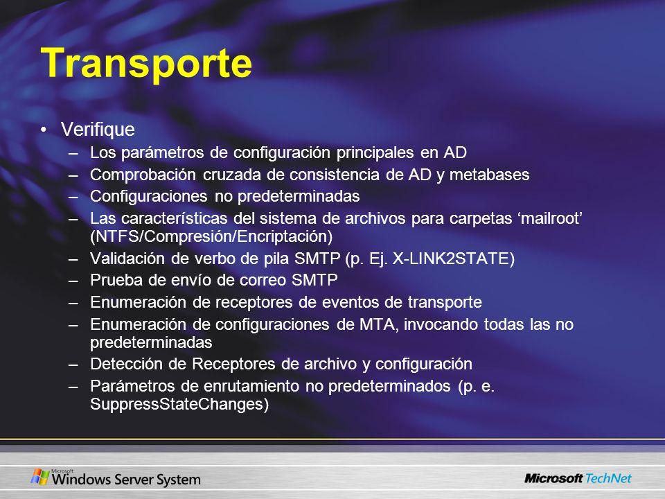 Transporte Verifique Los parámetros de configuración principales en AD