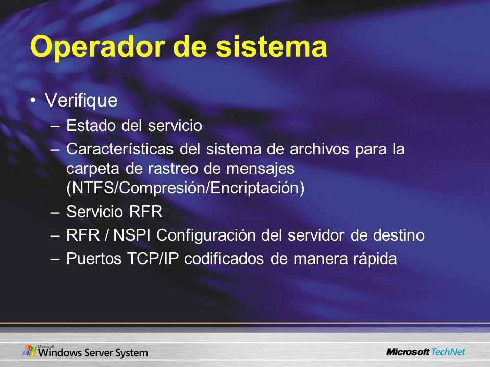 Operador de sistema Verifique Estado del servicio