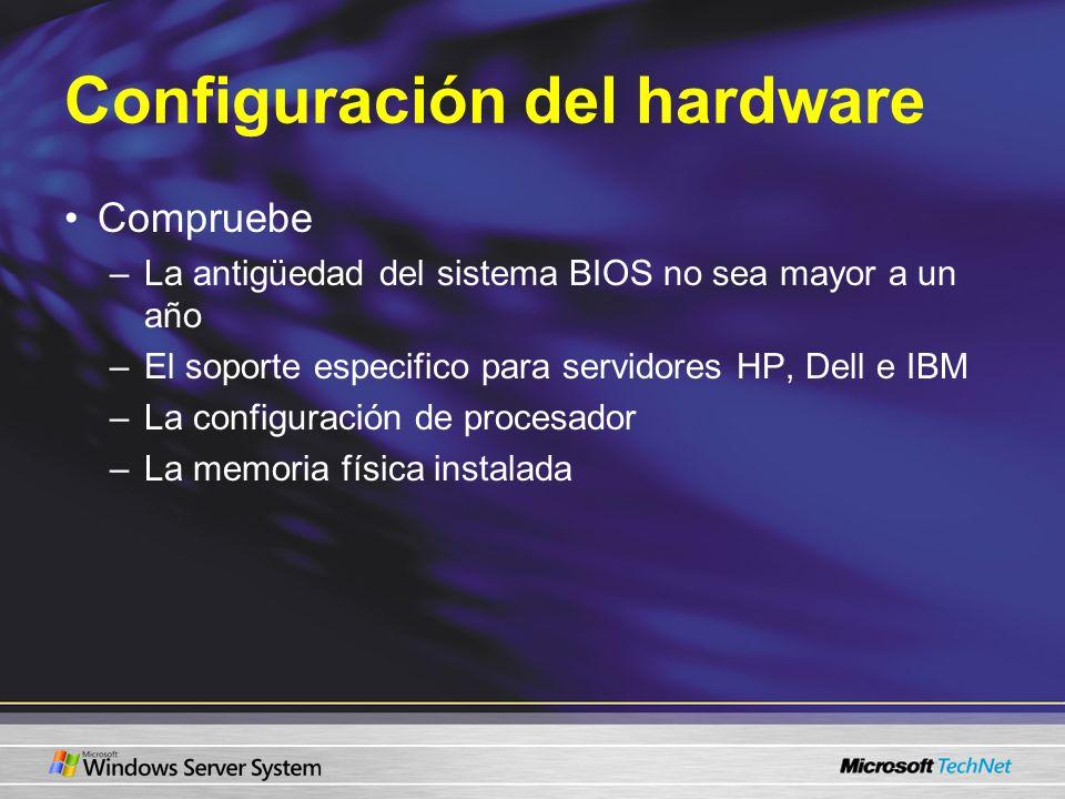 Configuración del hardware