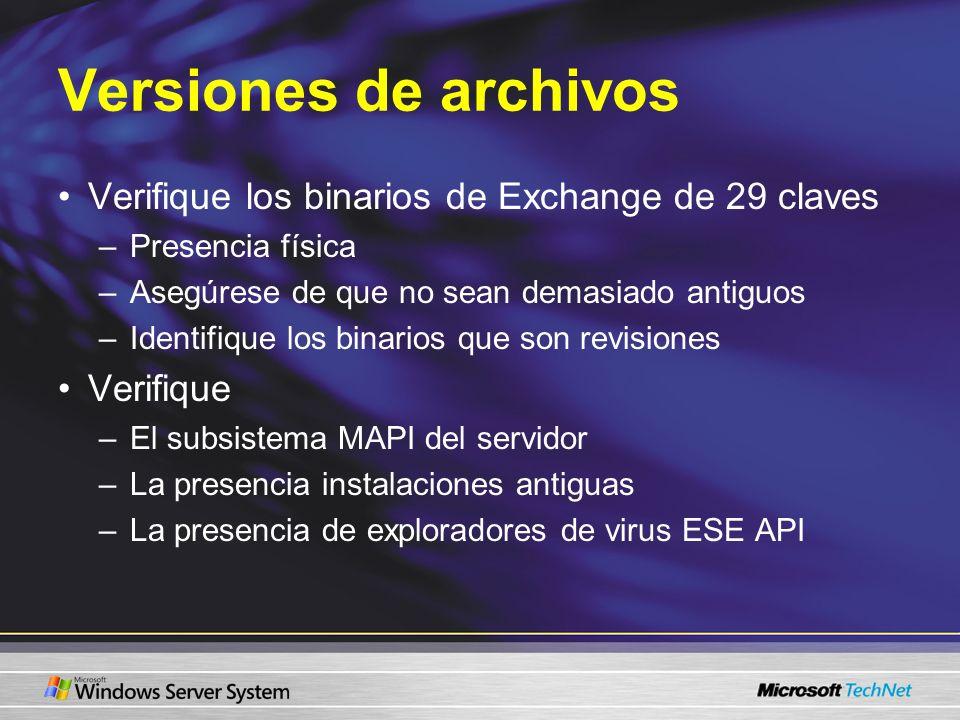 Versiones de archivos Verifique los binarios de Exchange de 29 claves